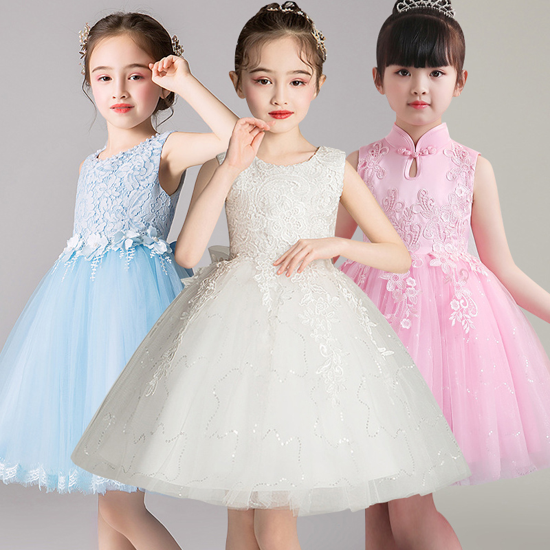 High Quality Lace Appliques Beading Beading Length Pageant First Communion Girls'Campus Graduation Ceremony Ball Party Dress
