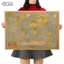 TIE LER Vintage Retro Kraft Paper World Map Blue Background Antique Poster Wall Sticker Home Decora 72.5x51.5cm(China)