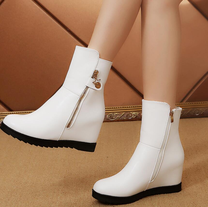 Women Embroidery Increase Wedge Shoes Thick Platform High Heels Sneakers Flats