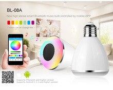 Multicolor inteligente led blub luz inalámbrica bluetooth altavoz lights110v-240v e27 3 w lámpara led de audio para iphone 5s 5c ipad bl08