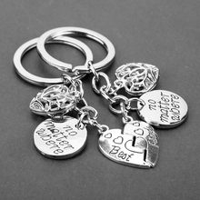 No Matter Where Best Friends Letters Keychain Heart Charm Keyring Matching 2 piece Key Chains Newst Trinket Keyholder llaveros(China)