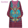 2016 Fashion Summer Vintage Ethnic Dress Sexy Women Boho Floral Printed Casual Beach Dresses Loose Sundress