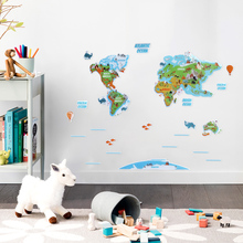 3D Stereoscopic World map wall stickers for kids rooms baby home decor living room decoration
