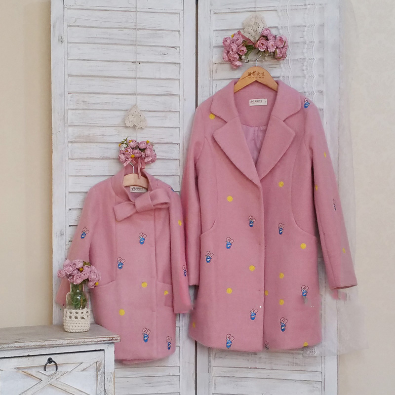 Girls Down Jacket Family Matching Outfits Mom Mother and Daughter Clothes Winter Fleece Coat Parent Children Wool Blend Coats peak lapel pocket wool blend pea coat