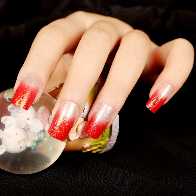 French UV Red Acrylic Nails White Shimmer Glitter Press On Nails DIY ...