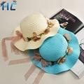 2016 Fashion Parent -Child Sun Hat Wide Brim Flowers Bowknot Women Beach Hat Straw Hat Girls Panama Hats Chapeu Feminino