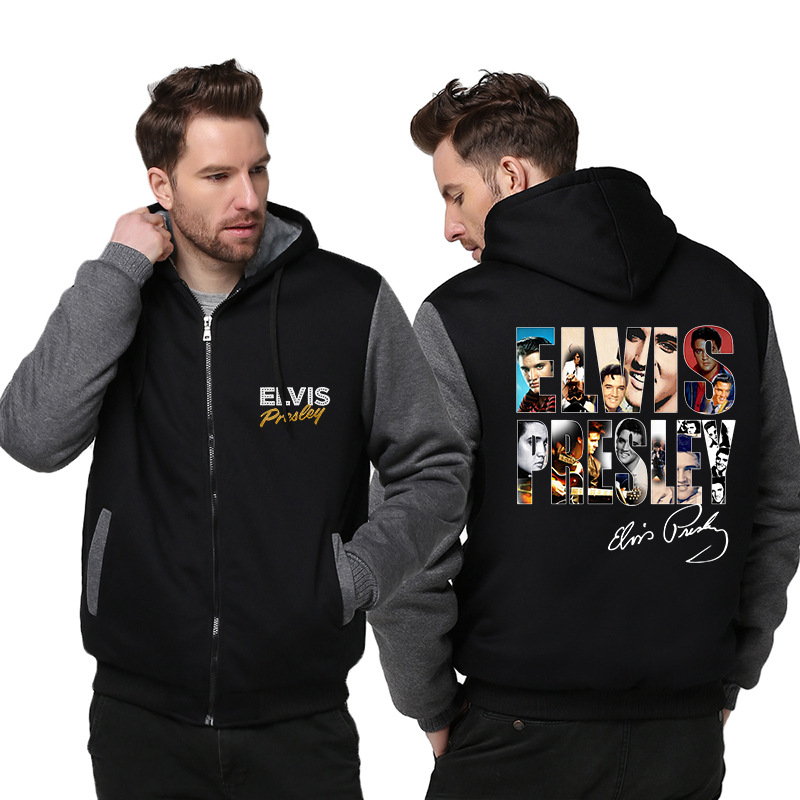 Men's Winter Jacket Elvis Presley Printing Hoodies Mens Thick Coat Hooded Sweatshirt