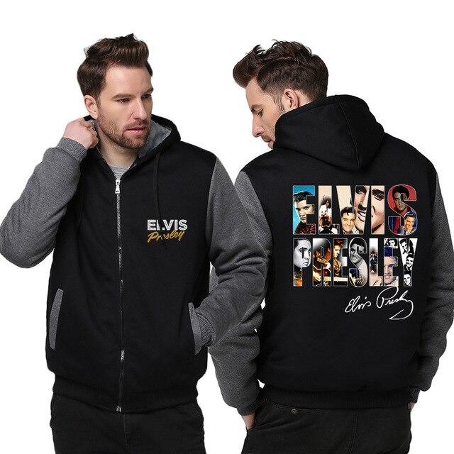 3a5e2a2e493 Men s Winter Jacket Elvis Presley Printing Hoodies Mens Thick Coat Hooded  Sweatshirt