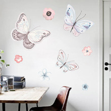 Creative butterfly flower 3D wall sticker Warm bedroom decoration living room bedside PVC waterproof self-adhesive wallpaper
