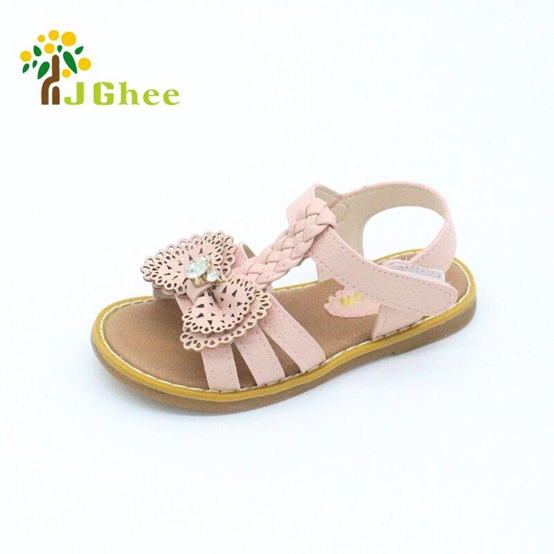 J Ghee New Girls Sandals Kids Shoes PU Bow tie With Rhinestone Princess Cute Sweet Children