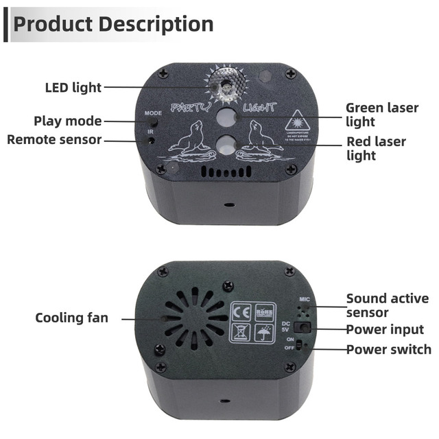 60 Patterns RGB LED Disco Light 5V USB Recharge RGB Laser Projection Lamp Stage Lighting Show for Home Party KTV DJ Dance Floor 4