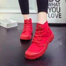 VTOTA  Ankle Boots Women Casual Canvas Shoes Fashion Sneakers Spring Autumn Botas Mujer Lace Up Martin