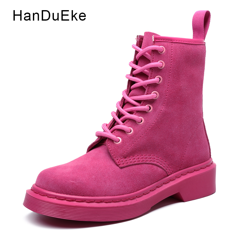 Motorcycle Women Boots Fashion Chocolate Pink Boots Shoes For Woman 2018 Spring Female Shoes Suede Leather Lace Up Zapatos Mujer