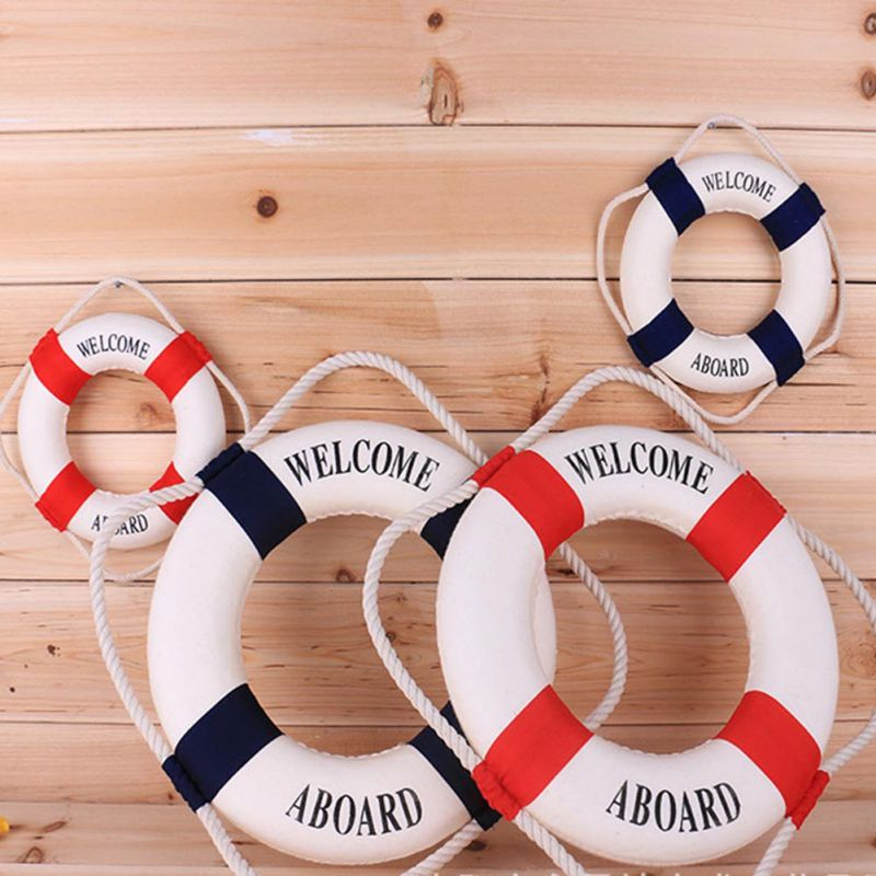 2017 & Navy Mediteranean Sea Life Buoy Wall Stickers Hanging Lifebuoy For Bar Home Decor Props Nautical Life Ring Wedding Crafts