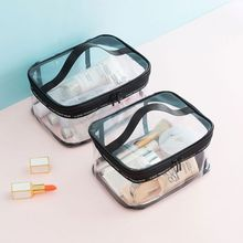 Clear Transparent PVC Travel Makeup Bag Cosmetic Toiletry Zip Cosmetic Wash Bags Pouch new women clear transparent plastic pvc cosmetic bags casual travel waterproof toiletry wash bathing storage zip bag