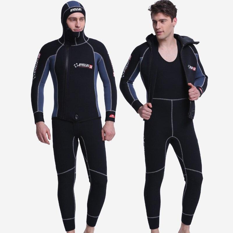 5 MM Néoprène À Manches Longues Salopette Pour Hommes Combinaison Plongée Plongée Veste Humide Costume Haut De Bain D'hiver Chaud Surf En Amont