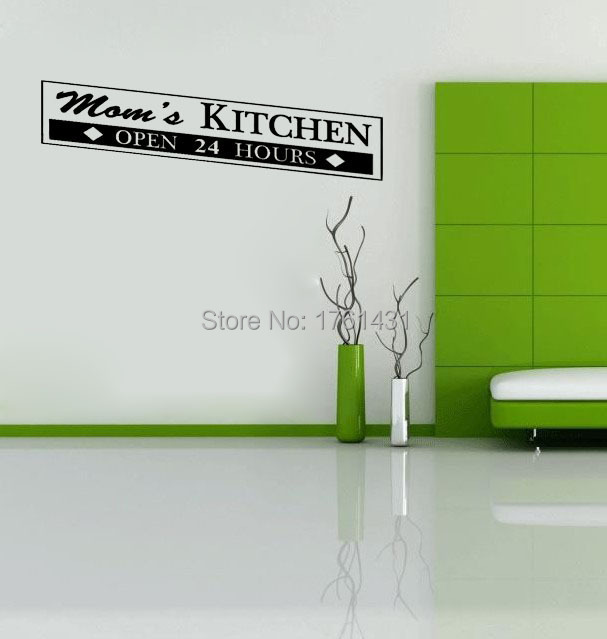 Moms Kitchen Wall Sticker Open 24 Hours Home Decoration Art Decals Quote Living Room Decor