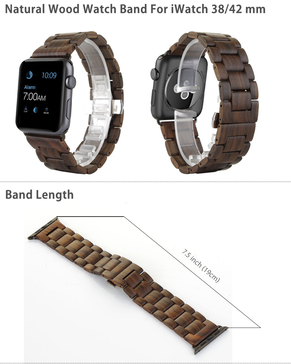 100% Natural Ebony Wooden WatchBand For Apple iWatch Strap Wood Watch Bands with Adaptor For Apple Watch 42mm