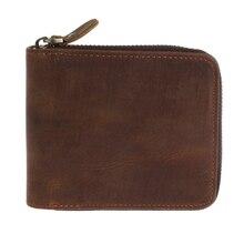 THINKTHENDO, винтажный кожаный бизнес кошелек на молнии, ID, кредитный держатель для карт, портмоне для мужчин