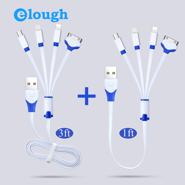 Elough Universal USB Charging Cable 4 in 1 Multi Charger Cable with Mini Micro USB Charge Cable for iPhone Android Phones Camera