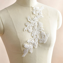 10 Pieces Ivory White Lace Applique Flower Patch Embroidery Patches Fabric Motifs Sew On Stickers Sewing 31X13cm