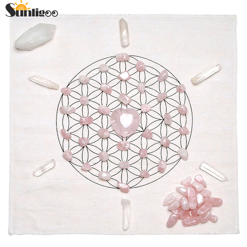 Sunligoo 2017 Chakra Crystal Healing Grids Kit / Includes Grids Altar Cloth Rose Quartz Stones Clear Quartz Crystal Wands Points