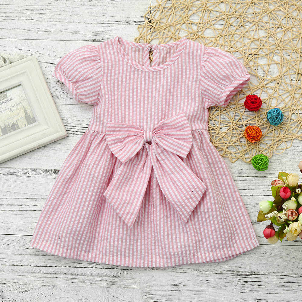 MUQGEW Baby Girls Short sleeve Dress Infant Lovely Bow-knot Stripe Princess  Round neck Outfits 63c320a39b6c