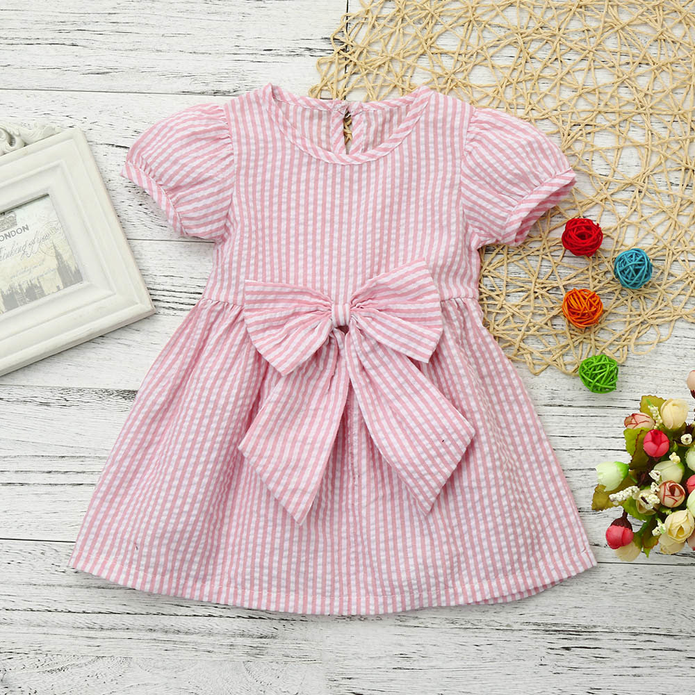 MUQGEW Baby Girls Short sleeve Dress Infant Lovely Bow-knot Stripe Princess Round neck Outfits Vestido Para Bebe Q06