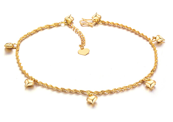 18K gold heart Anklet  make with 316L Titanium Steel Chain Women Barefoot Sandals Anklet, 2014 Fashion Foot Chain Jewelry,N715
