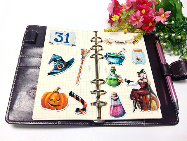 22pcs cute Halloween stickers for phone car Label Decorative Stationery Stickers Scrapbooking DIY Diary Album toy Sticker