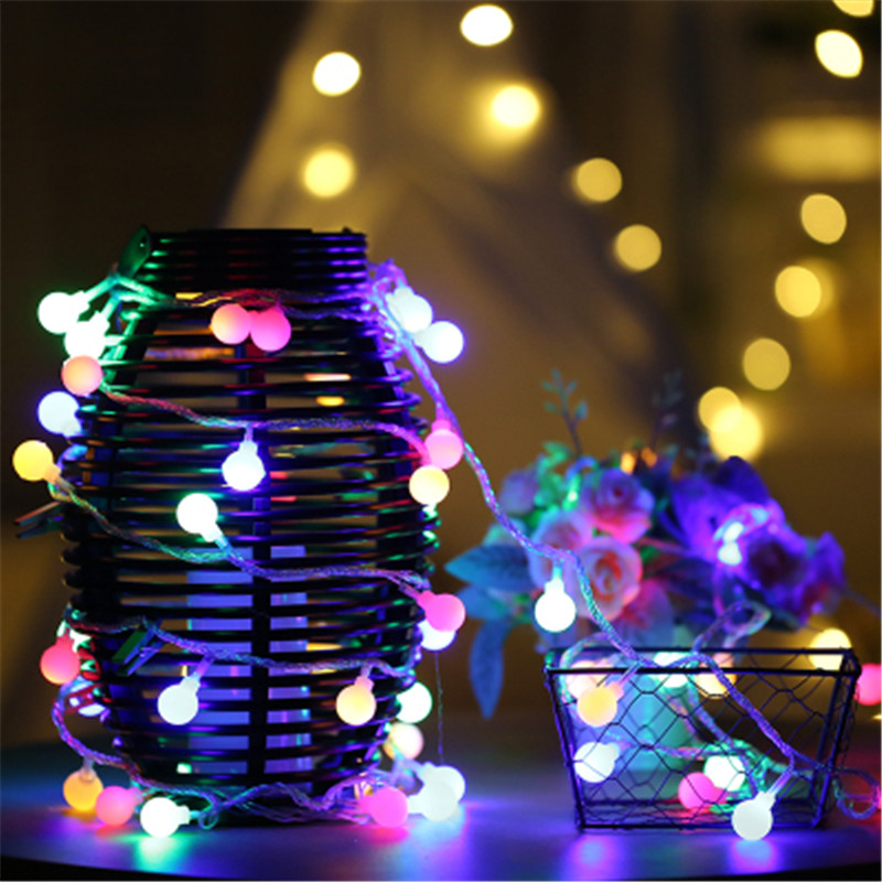 Led Ball Fairy String Lights 2m 3m 4m 5m 10m 20m Battery Operated Wedding Christmas Outdoor Garland Waterproof Decoration Lamps