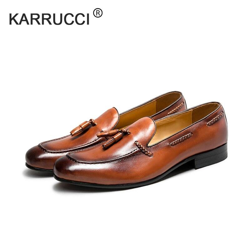 KARRUCCI Round Toe 100% Genuine Leather Tassels Slip-on Men