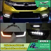 Car Styling LED Daytime Running Light For Honda CRV CR V 2017 2018 With Turn Yellow