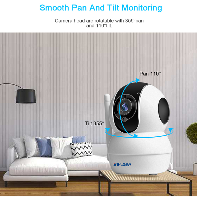 BESDER Full HD 1080P Wireless IP Camera Remote View 2.0MP CCTV WiFi Surveillance Home Security Baby Monitor 128GB SD Card Slot Surveillance Cameras