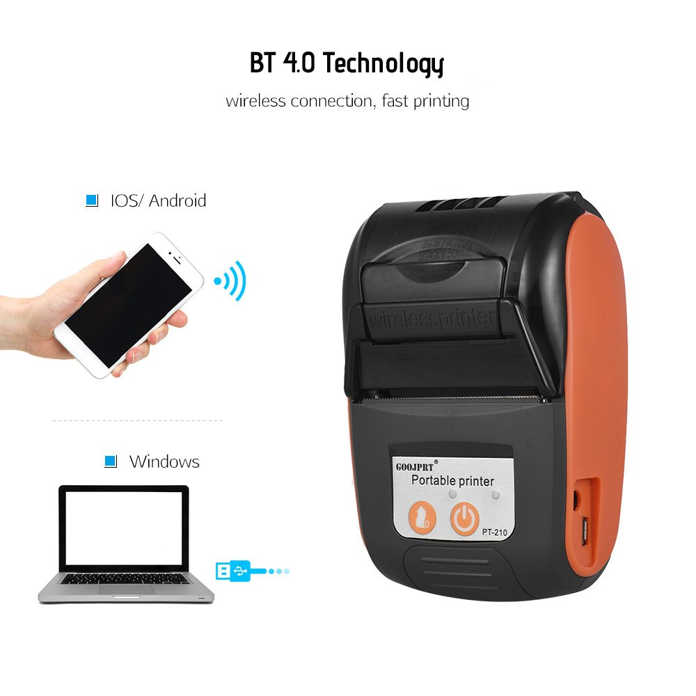 POS 58mm Bluetooth Thermal Receipt Printer Mini Portable Android IOS Mobile  POS Printers Free SDK for Window Android IOS Printer