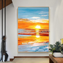 Handpainted Romantic Sunset Landscape Canvas painting seascape beach Oil Painting Natural scenery Sea picture For Home Decor