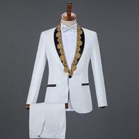 2019 Autumn Men's Suits White Black Red Blue Sequins Collar Tuxedo Blazers Male Singer Host Chorus Performance Stage Costume