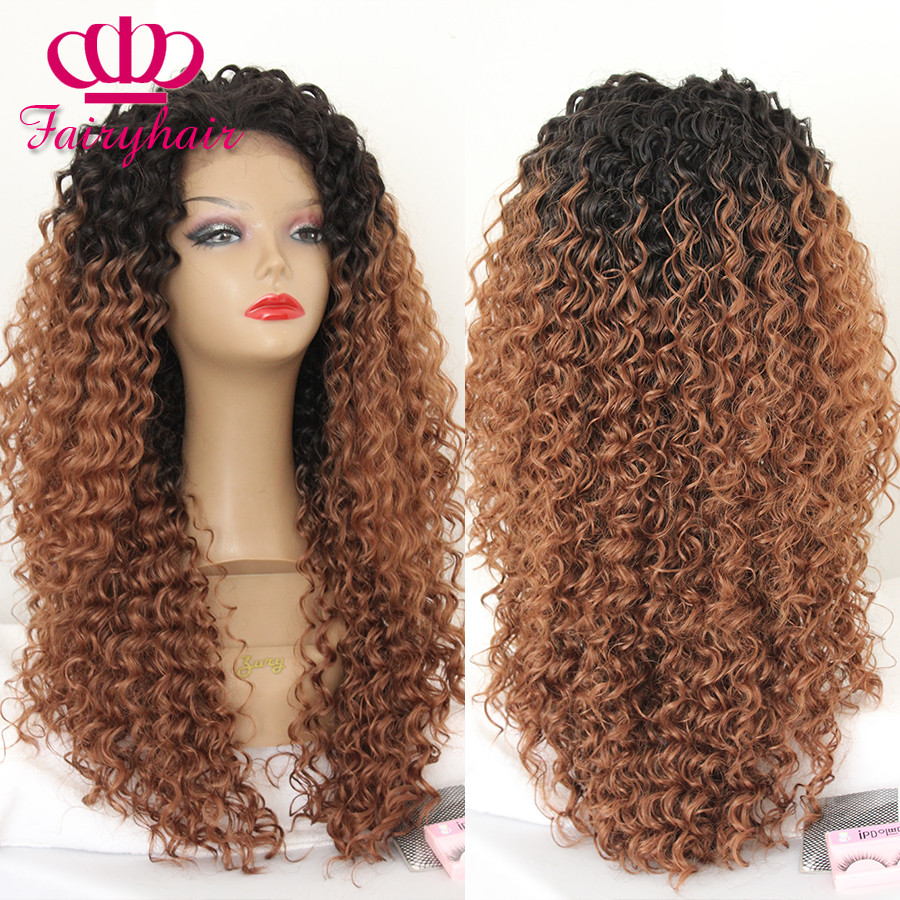 Fashion Afro Kinky Curly Lace Wigs Two Tone Ombre Brown Synthetic Lace Front Wig Heat Resistant Gluless Fiber Curly Wigs for Women5