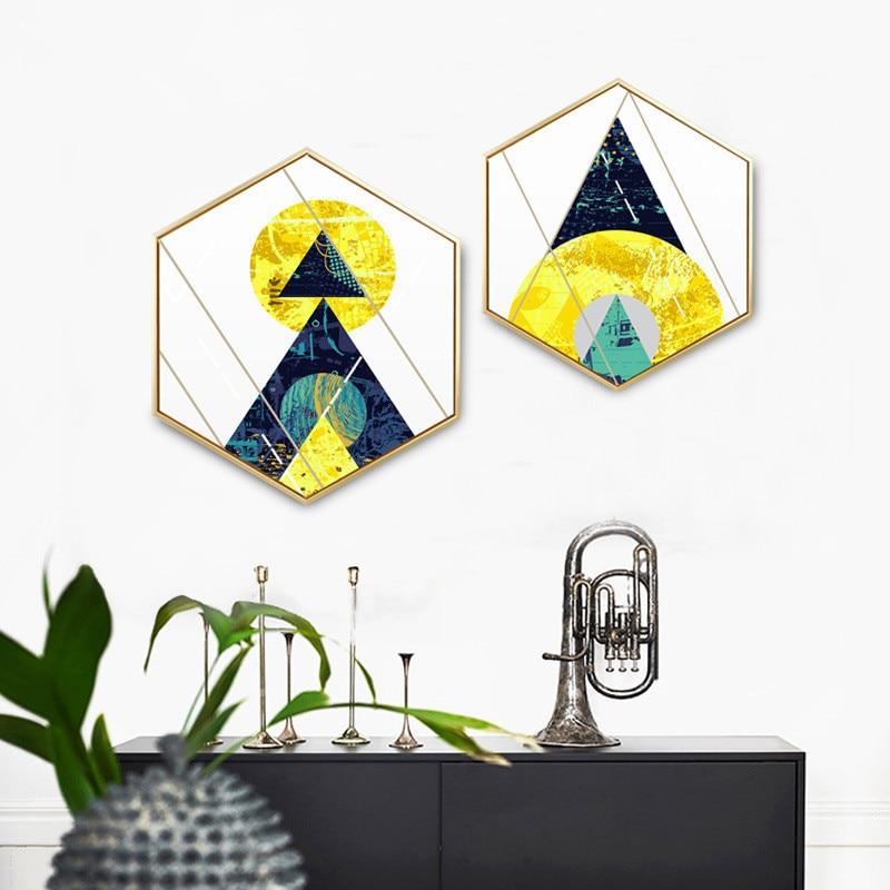 Estilo geométrico abstracto Noche de luna Hexágono pintura - Decoración del hogar