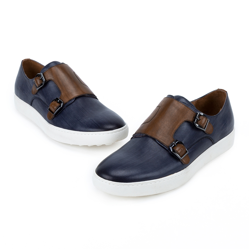 British Style Genuine Leather Men 39 s Double Monk Straps Footwear Round Toe Handmade Man Platform Comfortable Casual Shoes KUD97 in Men 39 s Casual Shoes from Shoes