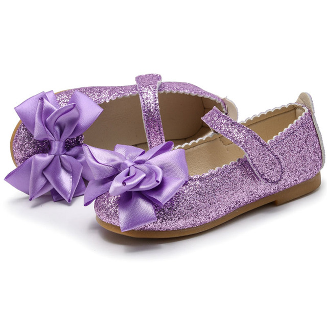 Flowers Children Little Girls Kids Spring Sequins Baby Dress Shoes For Girls School Purple Gold Party Princess Shoes New 2019