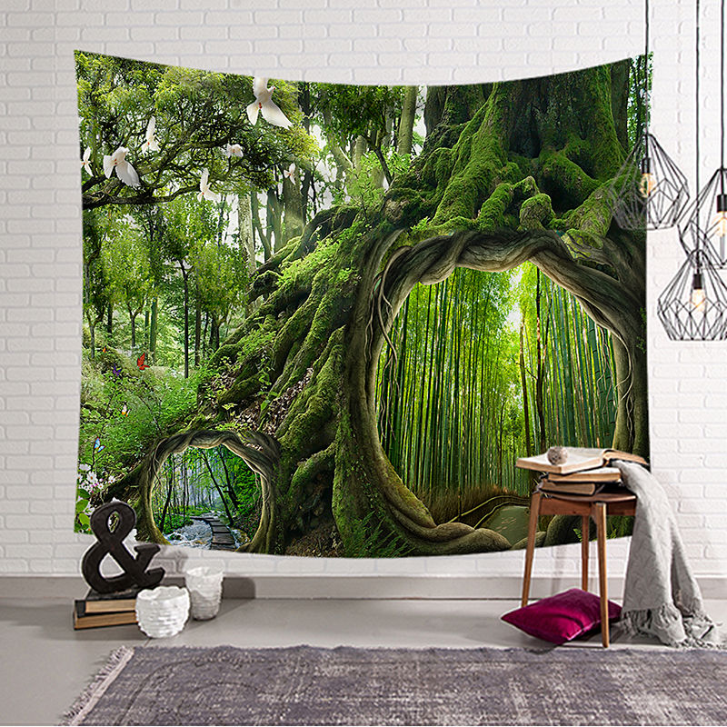 Kreative Wald Tapisserie Wie in den Wald Wohnkultur Tropical Bäume 3D Dekorative Wandteppich kostenlose lieferung w3-dz-20