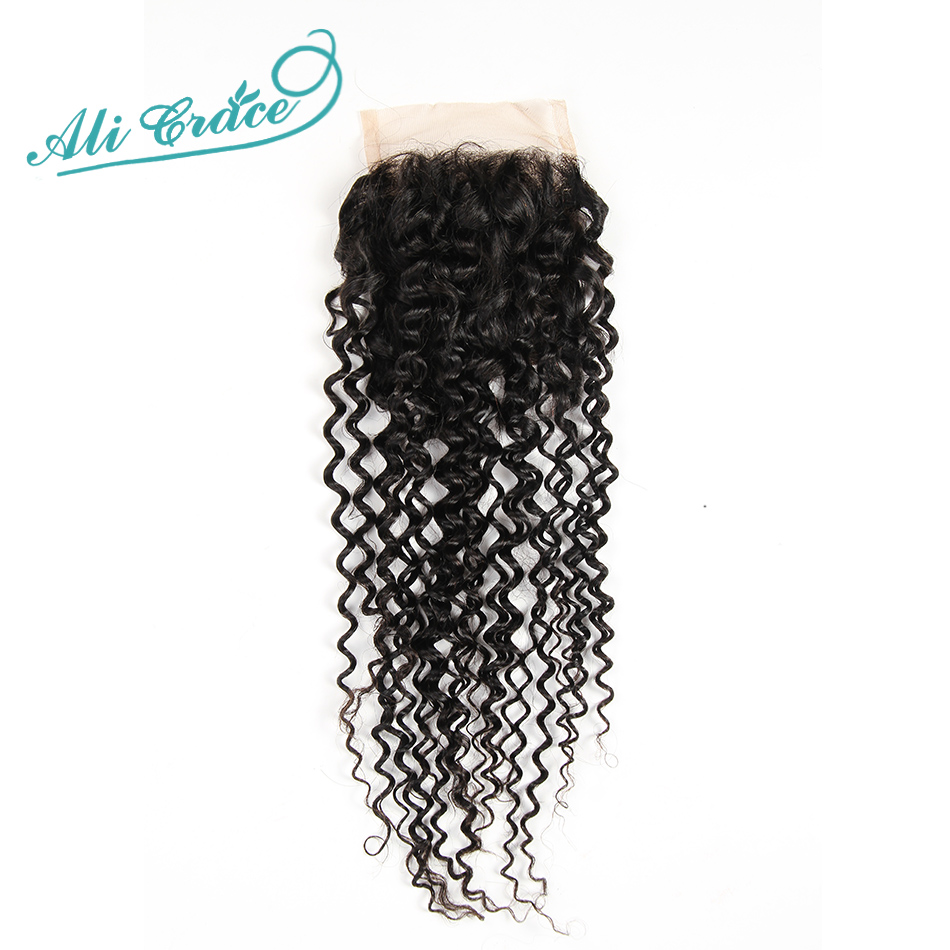 ФОТО Ali Grace Hair Products 8A Grade Brazilian Kinky Curly lace closure middle and free part 2options lace closure 4*4 10 to 24 inch