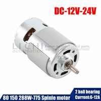 775 DC moteur de broche électrique pour perceuse 12 24V 80W 150W 288W brosse dc moteurs rs 775 tondeuse à gazon moteur avec deux roulements à billes évalué