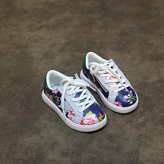 WENDYWU 16 otoño zapatillas de deporte del bebé zapatos de los niños zapatos de cuero de LA PU niñas estrella de la marca de los planos de los niños zapatos de flores zapatillas de deporte