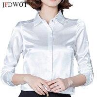 Women Silk Satin Blouse Button Long Sleeve White Blue PinkBlack Lapel Ladies Office Work Elegant Female