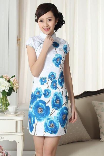 Shanghai Story big discount Fashion Mini Qipao Chinese Women s Clothing  Cheongsam Blend Cotton Qipao Floral Chinese dresses c8a1e581ee8e
