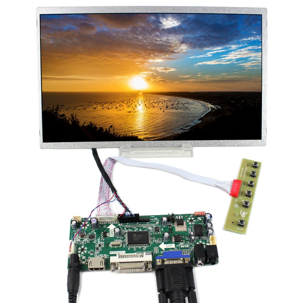 HDMI DVI VGA LCD Controller Board+11 HSD110PHW1 1366x768 LCD Screen for b140xtn02 vga hdmi lcd controller board 14 inch edp 30 pins 1 lane 1366x768 wled lcd screen
