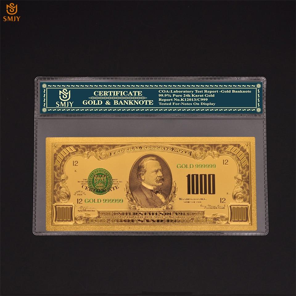 Produto novo dólar dos eua dinheiro 1000 dólares falso ouro dinheiro notas coleções com coa e presentes