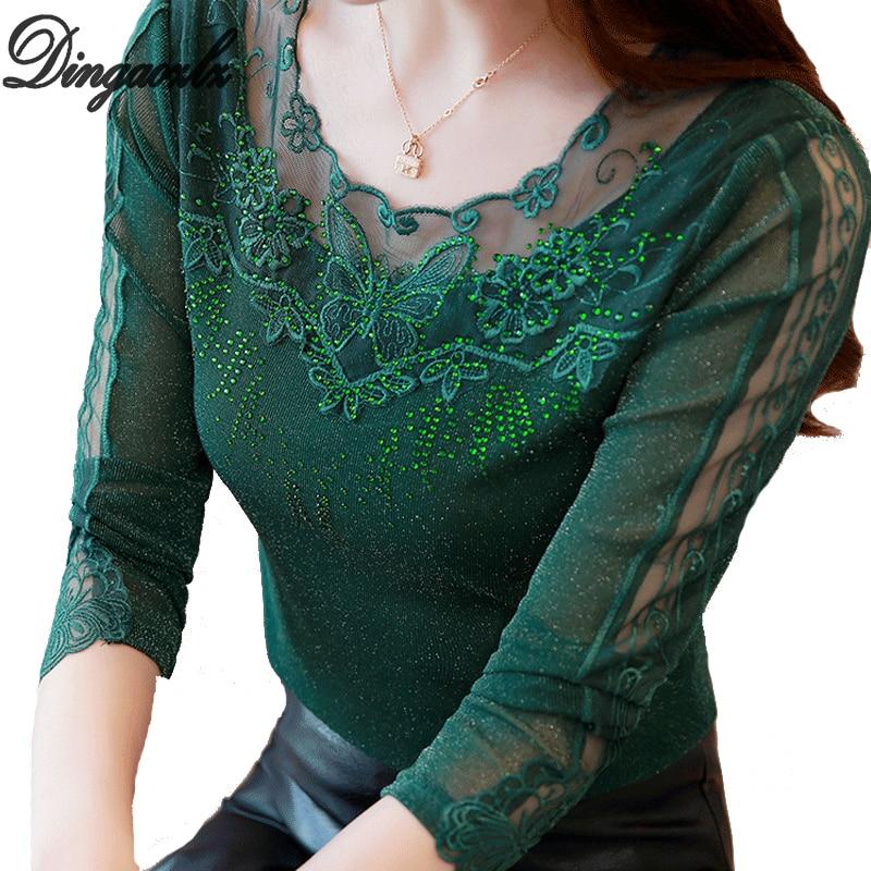 Dingaozlz Autumn Women Shirt 2018 New Casual Lady Blouse Patchwork Mesh Lace Tops Plus Size Clothing Elegant Diamond Shirt